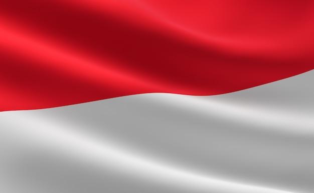 Bandeira da indonésia. ilustração 3d da ondulação da bandeira indonésia.