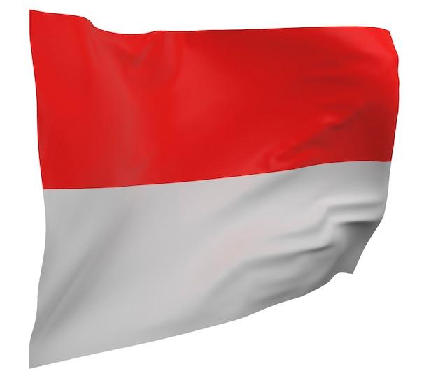 Bandeira da indonésia isolada. bandeira ondulante. bandeira nacional da indonésia