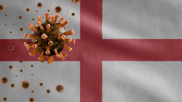 Bandeira da inglaterra acenando e o conceito de coronavirus 2019 ncov.