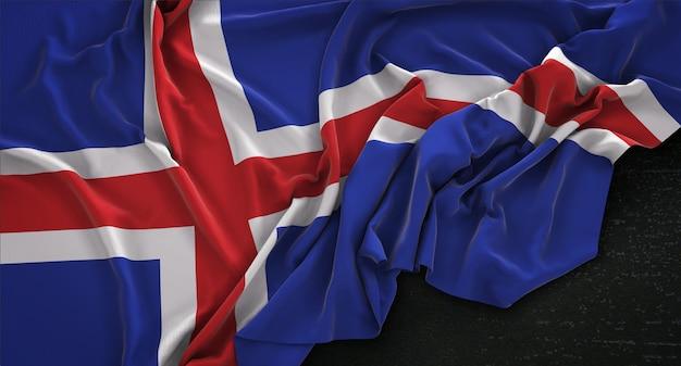 Bandeira da islândia enrugada no fundo escuro 3d render