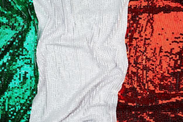 Bandeira da itália bordada com lantejoulas quadradas brilhantes