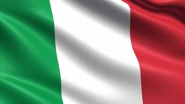 Bandeira da itália, com textura de tecido de ondulação