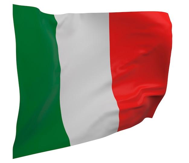 Bandeira da itália isolada. bandeira ondulante. bandeira nacional da itália