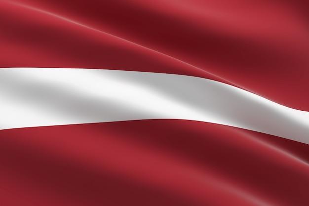 Bandeira da letônia. ilustração 3d da bandeira da letônia acenando