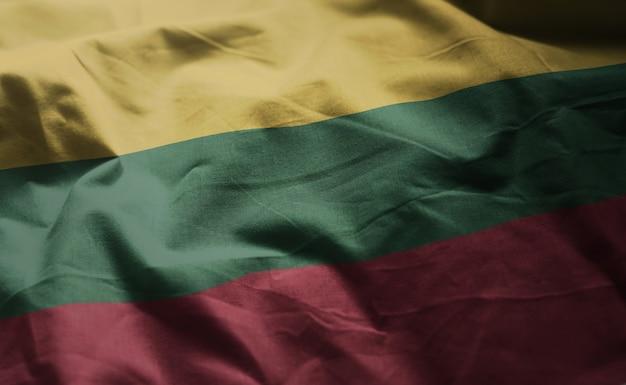 Bandeira da lituânia amarrotada close up