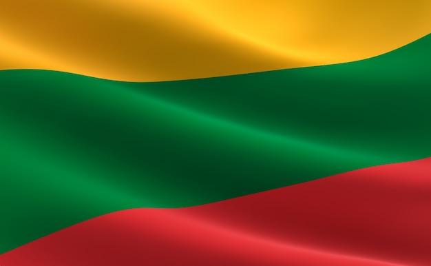 Bandeira da lituânia. ilustração da bandeira da lituânia acenando.