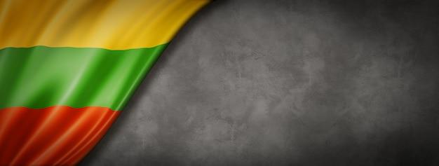 Bandeira da lituânia na parede de concreto. faixa panorâmica horizontal. ilustração 3d