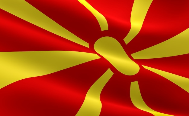 Bandeira da macedônia. ilustração da bandeira macedónia acenando.