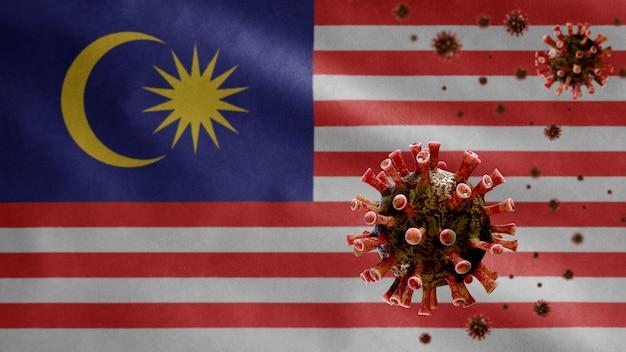 Bandeira da malásia acenando com surto de coronavírus infectando o sistema respiratório como uma gripe perigosa