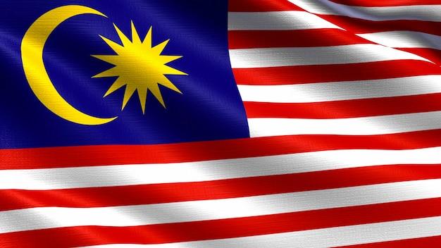 Bandeira da malásia, com textura de tecido a acenar