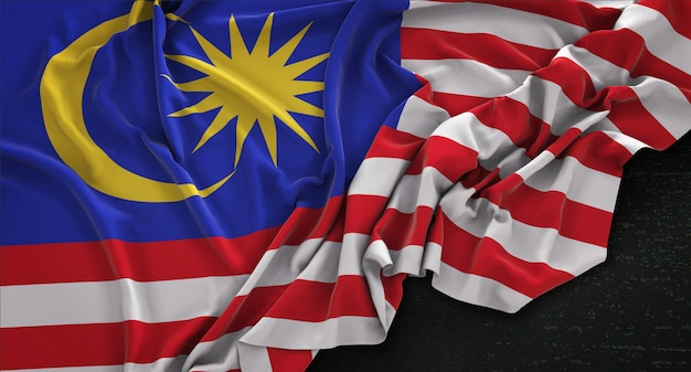 Bandeira da malásia enrugada no fundo escuro 3d render