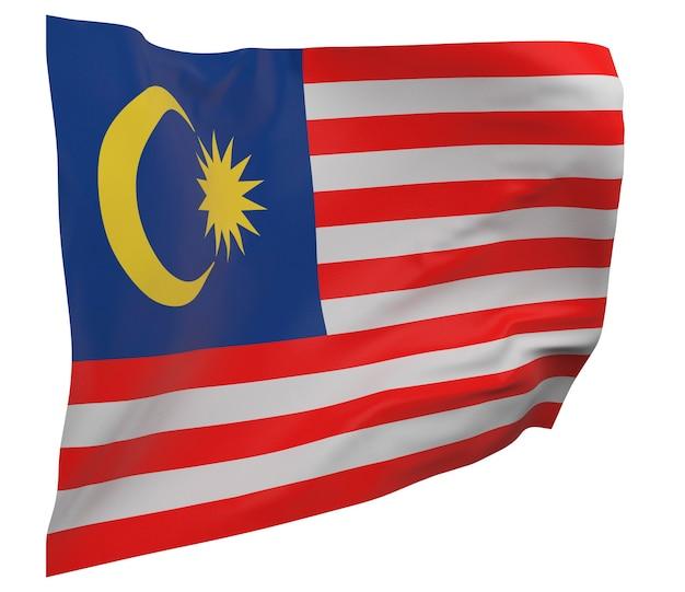 Bandeira da malásia isolada. bandeira ondulante. bandeira nacional da malásia