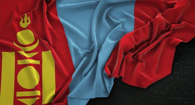 Bandeira da mongólia enrugada no fundo escuro 3d render