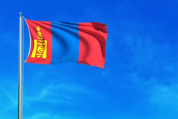 Bandeira da mongólia sobre a renderização 3d de fundo de céu azul