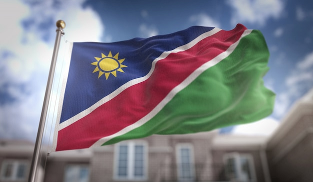 Bandeira da namíbia representação 3d no fundo do edifício do céu azul