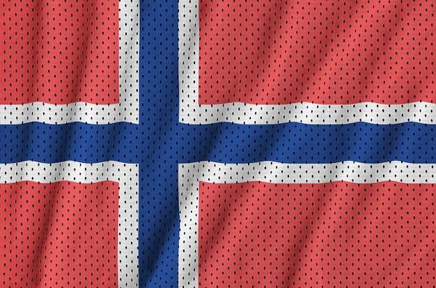 Bandeira da noruega impressa em um tecido de malha de nylon para sportswear de poliéster
