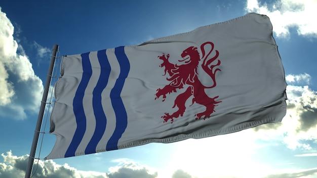 Bandeira da nouvelle-aquitaine, região da frança. renderização 3d