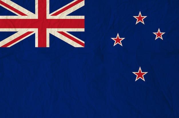 Bandeira da nova zelândia com papel antigo vintage
