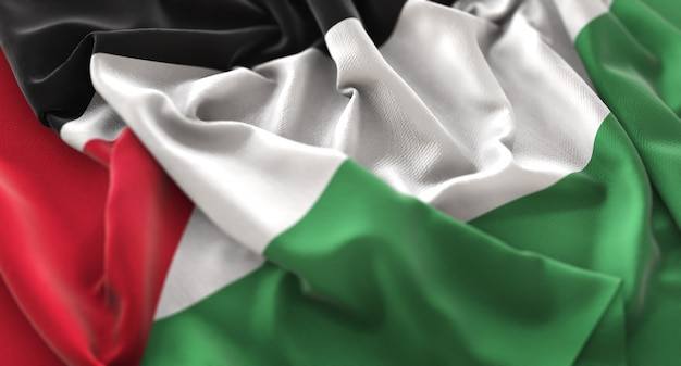 Bandeira da palestina ruffled beautifully waving macro close-up shot