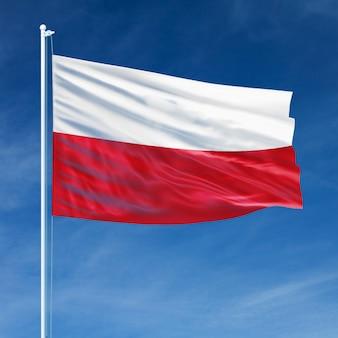 Bandeira da polônia voando