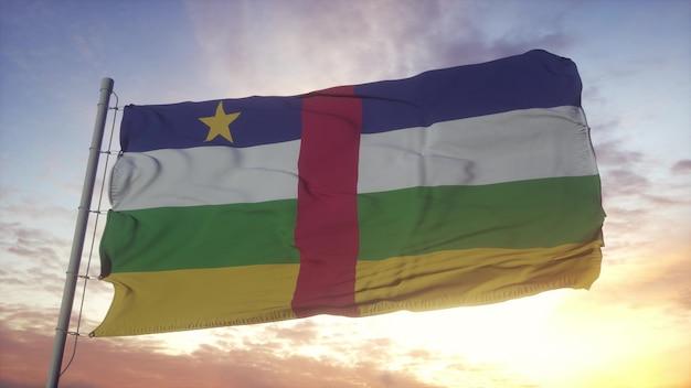 Bandeira da república centro-africana balançando ao vento, o céu e o sol de fundo. renderização 3d.
