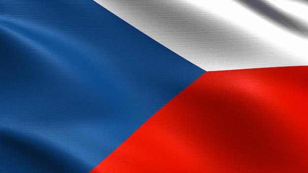 Bandeira da república checa, com textura de tecido a acenar