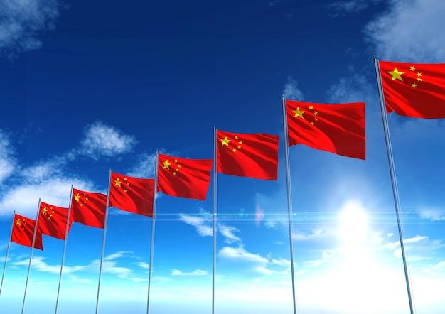 Bandeira da república da china sob o céu azul, renderização em 3d