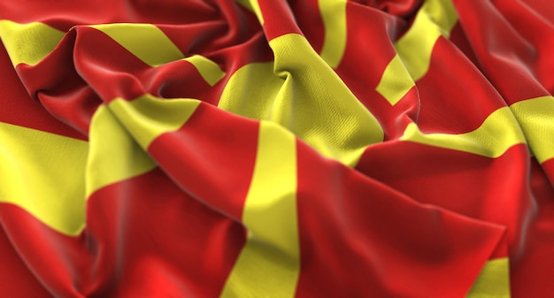 Bandeira da república da macedónia ruffled beautifully waving macro shot de close-up