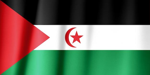 Bandeira da república democrática árabe do saharaui acenando com o vento.