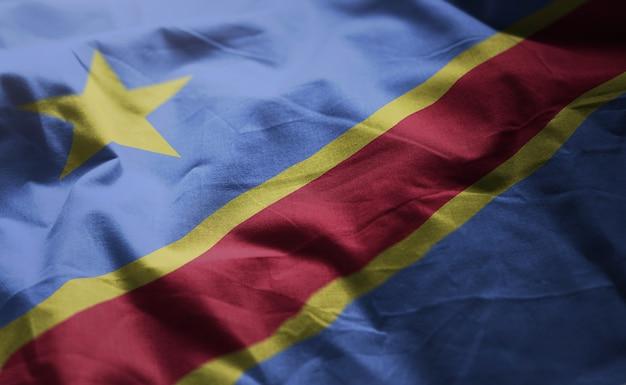 Bandeira da república democrática do congo rumpled close up