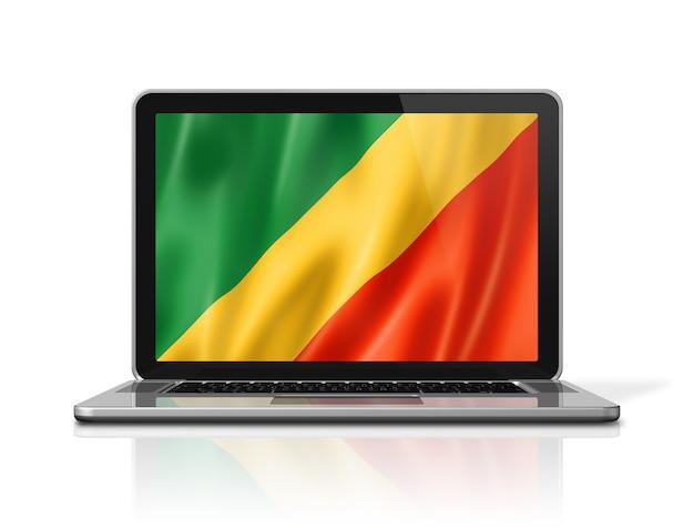 Bandeira da república do congo na tela do laptop isolada no branco. ilustração 3d render.