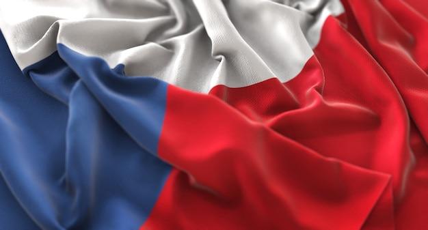 Bandeira da república tcheca ruffled beautifully waving macro close-up shot