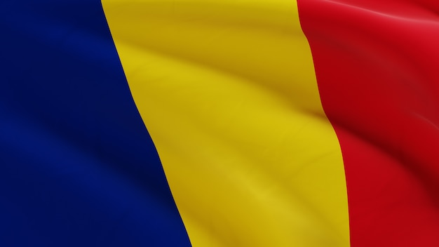 Bandeira da romênia balançando ao vento, micro textura de tecido em renderização 3d de qualidade