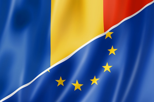Bandeira da roménia e europa