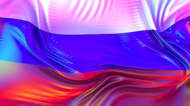 Bandeira da rússia com reflexos coloridos do arco-íris.