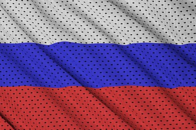 Bandeira da rússia impressa em um tecido de malha de nylon sportswear de poliéster