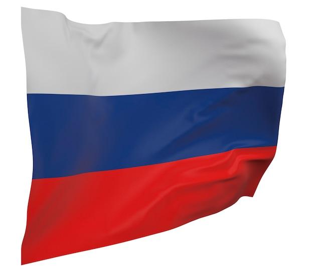 Bandeira da rússia isolada. bandeira ondulante. bandeira nacional da rússia