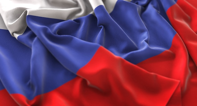 Bandeira da rússia ruffled beautifully waving macro close-up shot