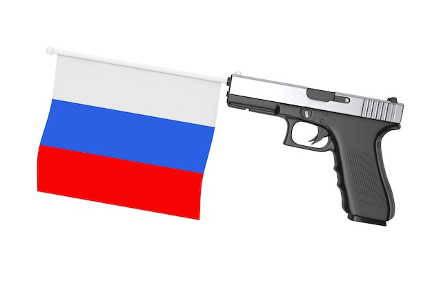 Bandeira da rússia surgindo de uma arma moderna em um fundo branco renderização 3d