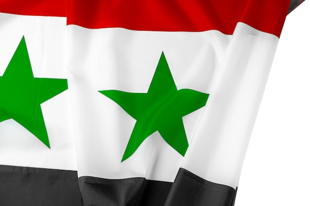 Bandeira da síria de tecido close-up