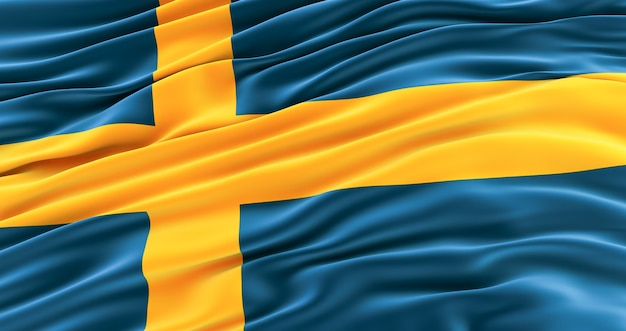 Bandeira da suécia, bandeira de ondulação da suécia. fundo sueco