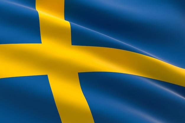 Bandeira da suécia. ilustração 3d da bandeira sueca acenando