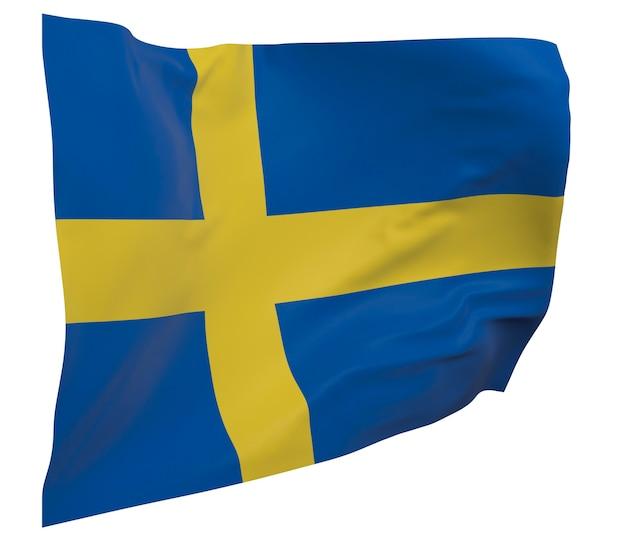 Bandeira da suécia isolada. bandeira ondulante. bandeira nacional da suécia