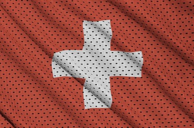 Bandeira da suíça impressa em um tecido de malha de nylon para sportswear de poliéster