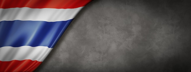 Bandeira da tailândia na parede de concreto