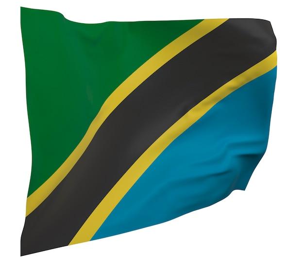 Bandeira da tanzânia isolada. bandeira ondulante. bandeira nacional da tanzânia