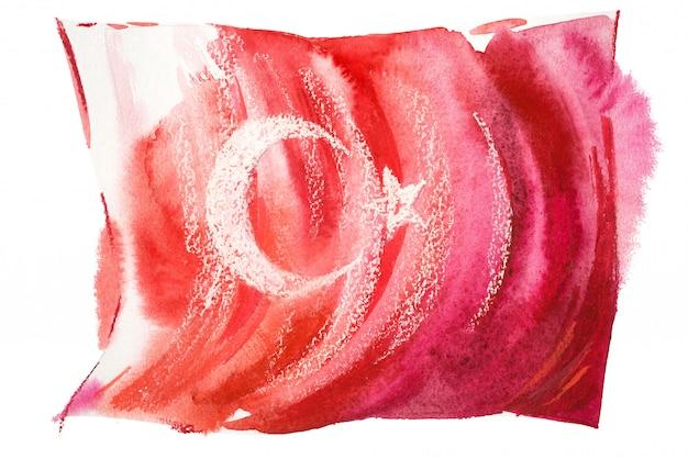Bandeira da turquia pintado em aquarelas