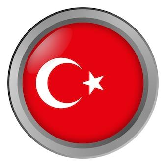Bandeira da turquia redonda como um botão