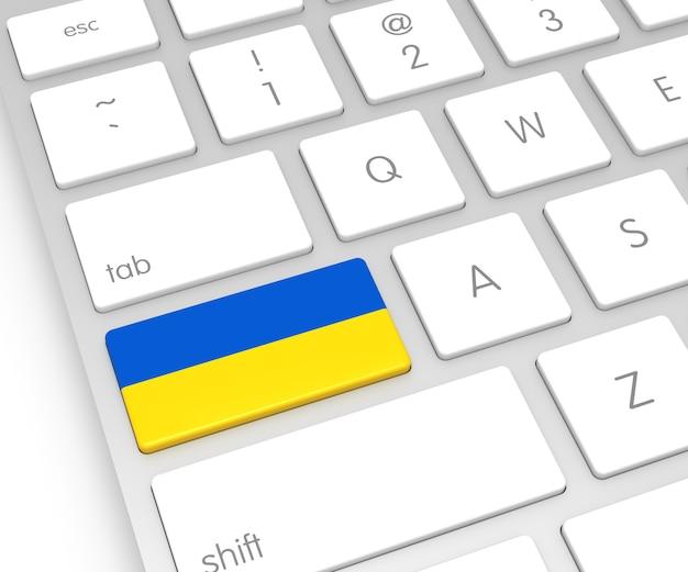 Bandeira da ucrânia na tecla de computador. renderização 3d