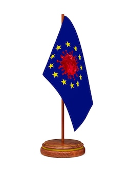 Bandeira da ue com vírus em branco.